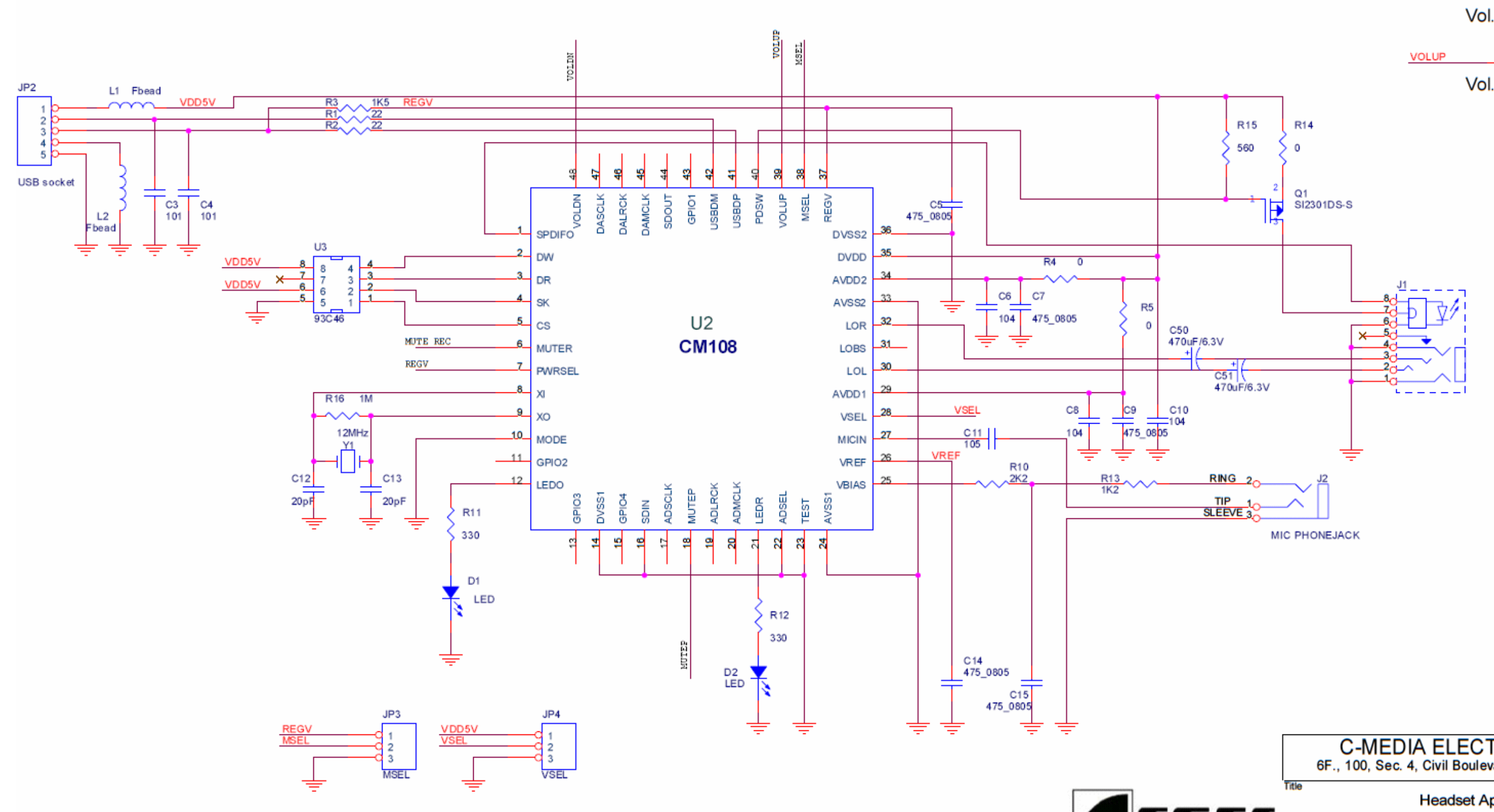 Usb Sound Card Circuit Diagram | Cm108ah Usb Soundcard On A Chip Madexp